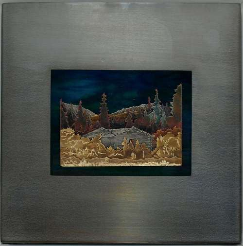 """Soon Just A Memory,""  Silver City, Kluane, Yukon.  Bronze, copper, german silver, enamel, steel ,glass. from: ""A Second Look,""  6""x6"""